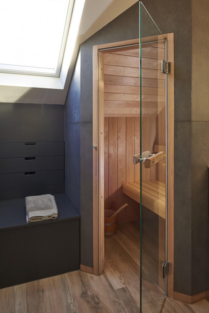 Salle de bains avec sauna cr ations gillet for Gillet carrelage